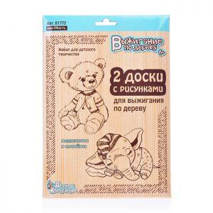 Доски для выжигания 2шт Медвежонок и слоненок