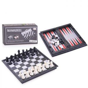 Настольная игра QX53810 Шахматы, шашки, нарды на магнитах 3 в 1 в коробке