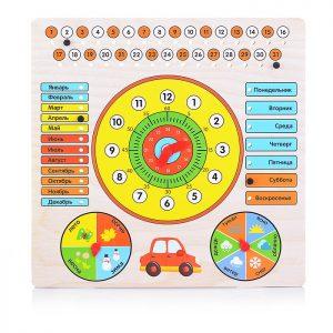 Обучающая доска Календарь с часами: Машинка