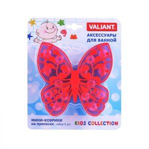 Мини-коврик для ванной комнаты Бабочка (на присосах), набор 6шт., голуб.+роз., 13*12.7 см