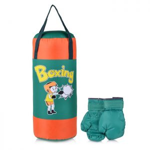 Набор для бокса: груша 50 см х Ø20 см. с перчатками. Цвет зеленый+оранжевый BOXING, ткань Оксфорд
