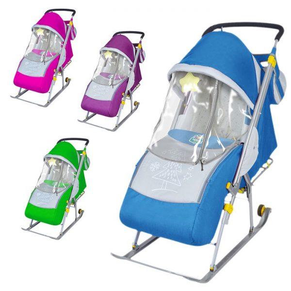 Санки-коляска Ника детям 4 (баклажан