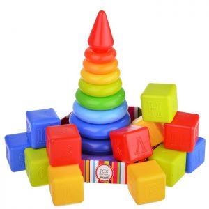 Радуга Макси развививающий набор на подложке с кубиками