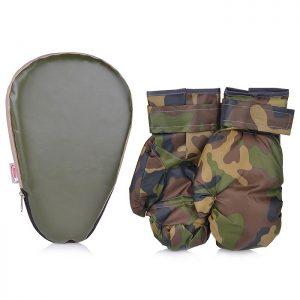 Набор для бокса лапа боксерская 27х18,5*4 см. с перчатками. Военный