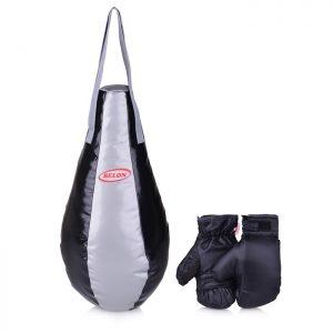 Набор для бокса груша каплевидная 55 см х Ø28 см+перчатки. Цвет серебро+черный