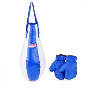 Набор для бокса груша каплевидная 55 см х Ø28 см+перчатки. Цвет синий+белый