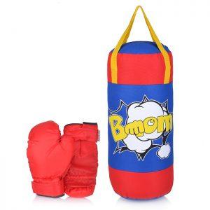 НАБОР для бокса: груша 50 см х Ø20 см. с перчатками. Цвет синий+красный ткань Оксфорд