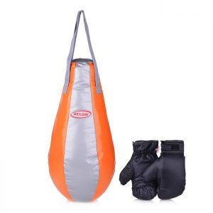 Набор для бокса груша каплевидная 55 см х Ø28 см+перчатки. Цвет серебро+оранжевый