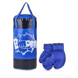 Набор для бокса: груша 50 см х Ø20 см. (тент) с перчатками. Цвет синий+черный. Принт BOOM