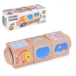 Кубики деревянные на оси Часть и целое (3 кубика)