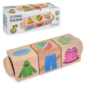 Кубики деревянные на оси Обобщение (3 кубика)