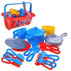 Набор детской посуды TOP chef с корзинкой №2 на 4 персоны (в сеточке)