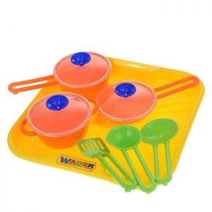 Набор детской посуды Поварёнок №1 с подносом