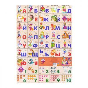 Плакат. Азбука русская разрез + счет/СКАЗОЧНАЯ 550*770