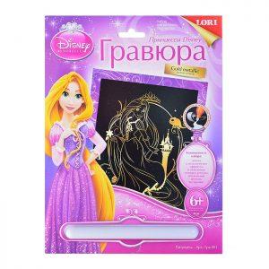 Гравюра Принцессы Disney большая с эффектом золота Рапунцель