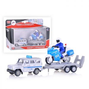 Набор машин Полиция, УАЗ с мотоциклом на прицепе, в коробке